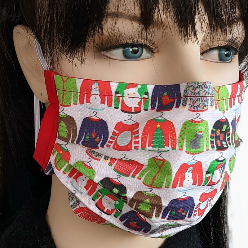 Designer 3 layer pleated folding style fabric face mask, Christmas with my ugly sweaters