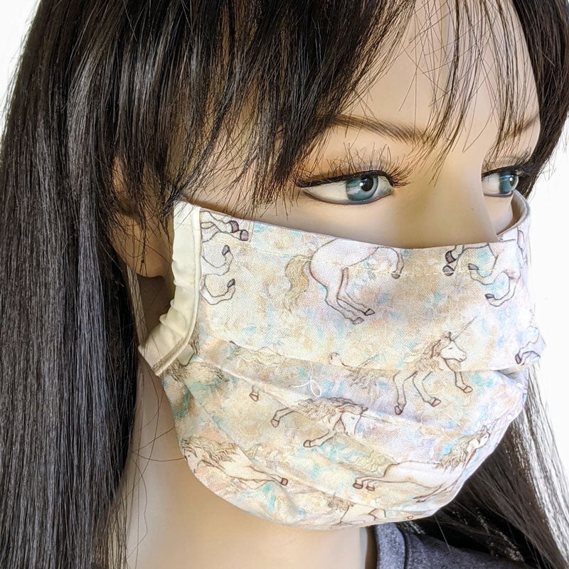 3 layer pleated folding style fabric face mask, unicorns in muted neutrals, one size