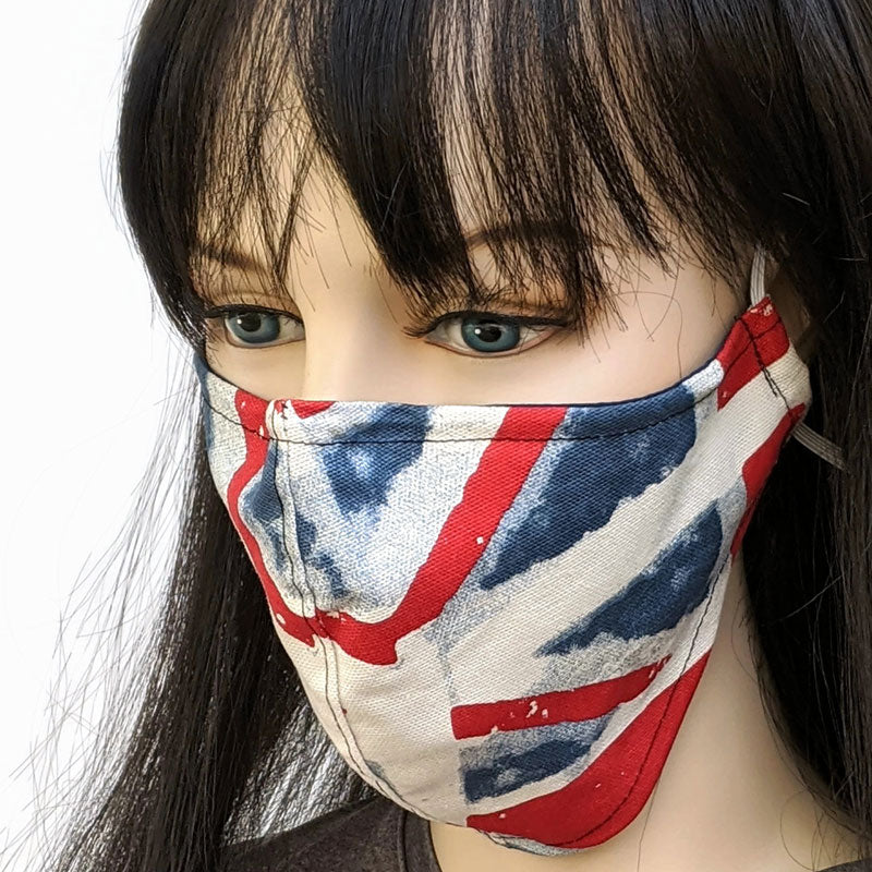 Fabric face mask, union jack in canvas with poly cotton lining, regular adult size