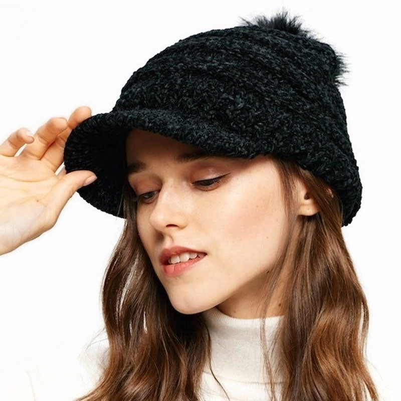 Knit Hat with visor and pompom