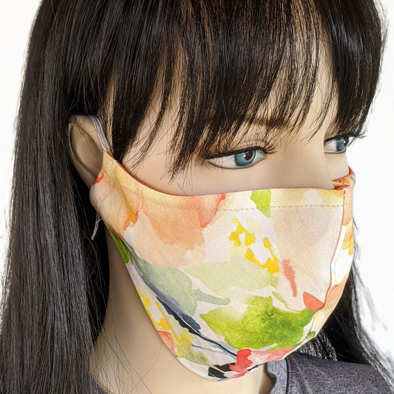 Cotton linen Fabric face mask, with poly cotton lining, beautiful watercolor floral
