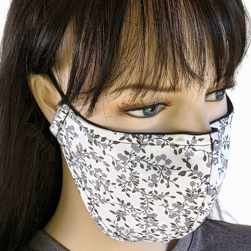 3 layer fabric face mask, white and black small flower print, in adult regular