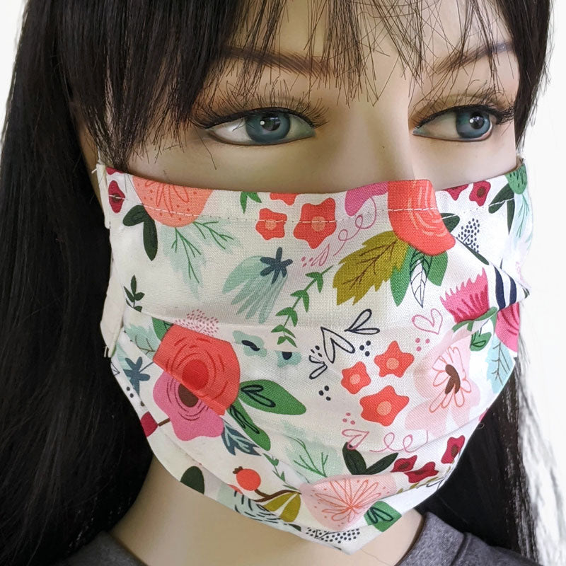 3 layer pleated folding style fabric face mask, featuring lovely floral on winter white, one size