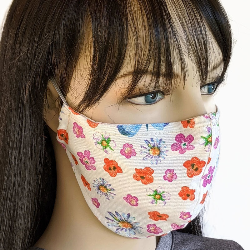 Fabric face mask, white canvas with flowers and butterflies, with poly cotton lining, adult regular size