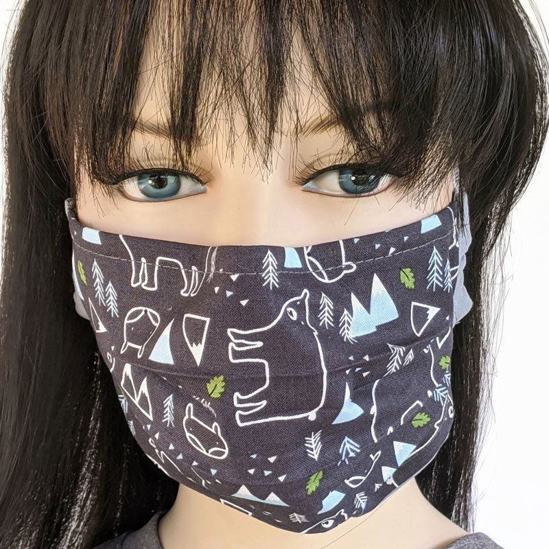 3 layer pleated folding style, fabric face mask, wilderness scene, one size