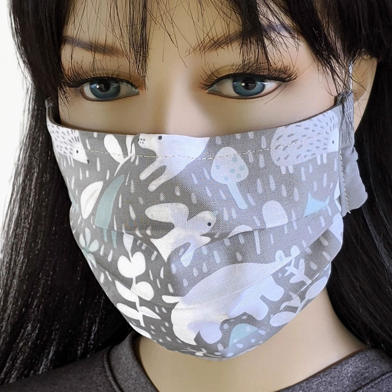 3 layer pleated folding style fabric face mask, wildlife in grey, cream and blue, one size
