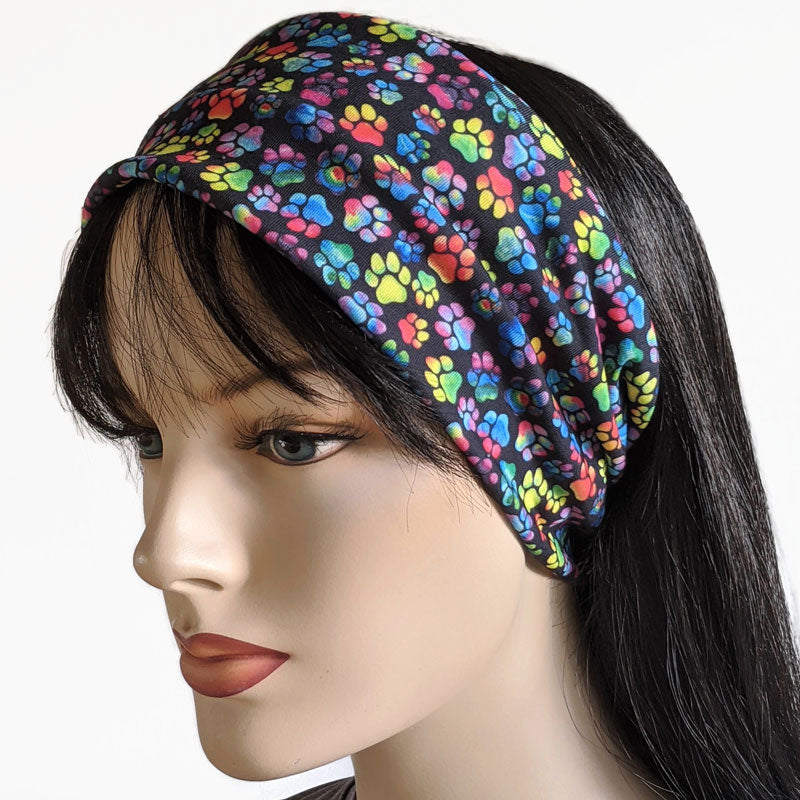 Premium, custom printed fabric, wide comfy jersey knit band, hat band, rainbow paws