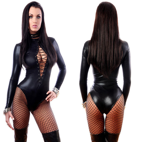 Faux Leather Long Sleeve Lace Up Catsuit BodysuitLingerie Aejeong