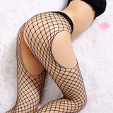 Open Crotch and Open Crotch/Open Hip Black Fishnet Stocking Mesh Hosiery