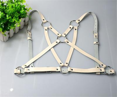 100% Handcrafted Handmade Leather Body Harness Cage BustierAccessories Aejeong