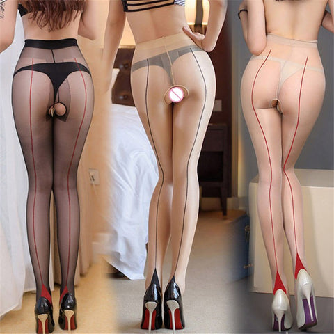 Cuban Heel  Open Crotch Stockings