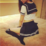 Cropped Sexy Schoolgirl Uniform