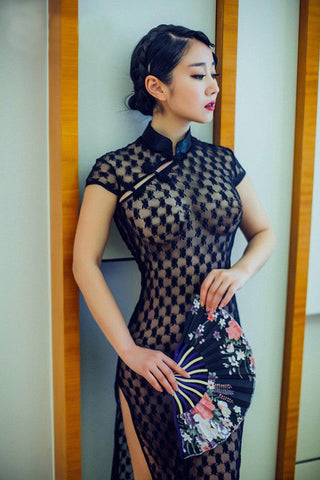 Black Lace Chinese-style Lingerie Dress
