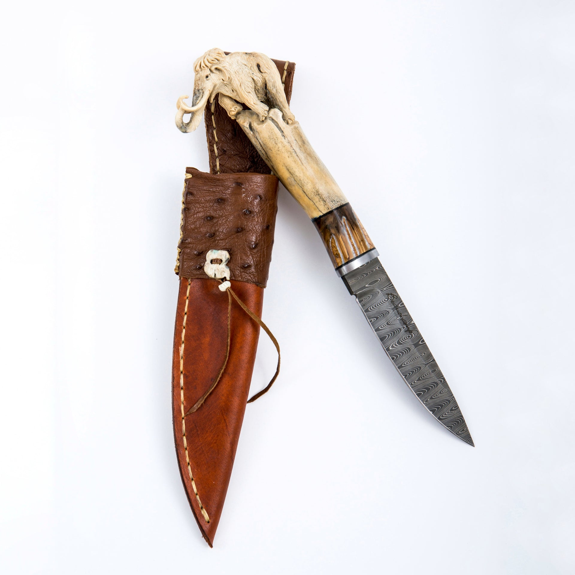 Carved mammoth knife