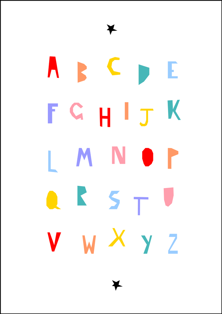 alphabet print colour