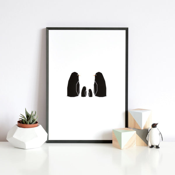 Custom Penguin Family print