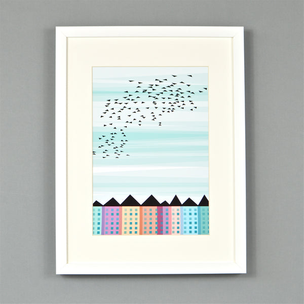 Birds Over Houses print