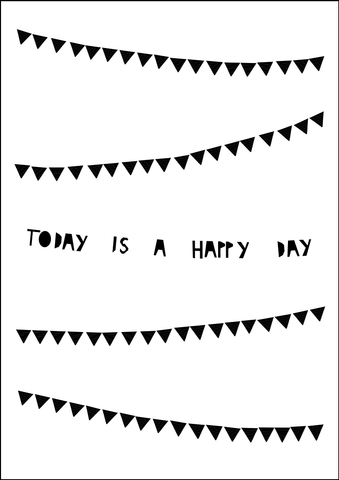 Happy Day Bunting print- monochome