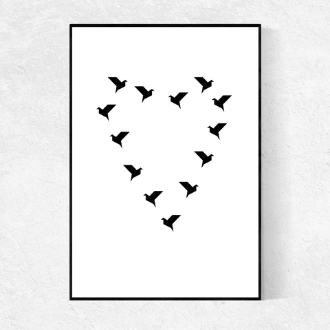 Black Bird Heart print