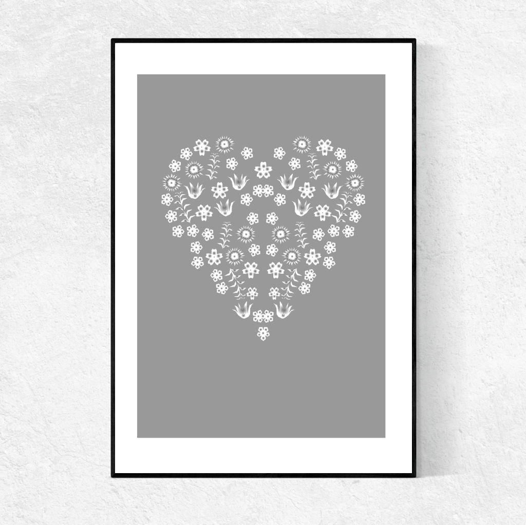 Floral Heart on grey print