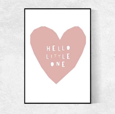 Hello Little One print -blush