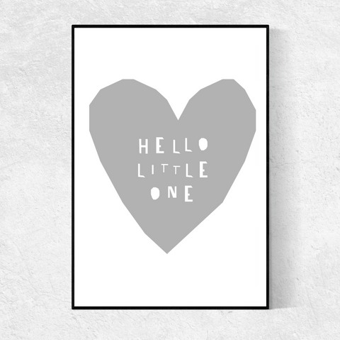 Hello Little One print - grey