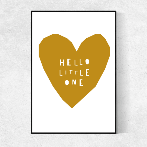 Hello Little One print - mustard