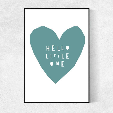 Hello Little One print - teal