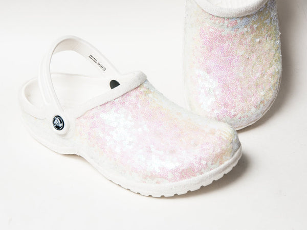 Bridal Crocs are apparently a thing now, and they're covered in sequins