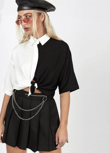 COLLARED CROP TOP