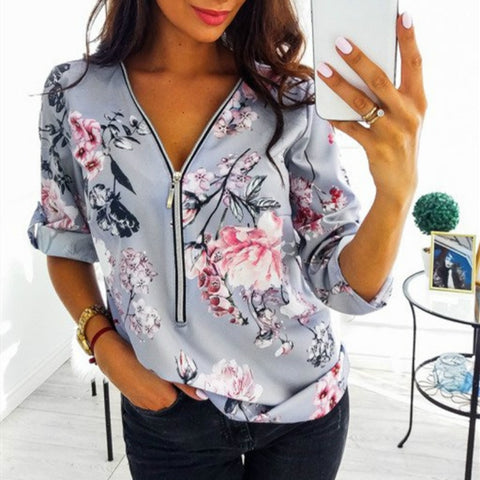 WOMEN'S ZIPPER V NECK COTTON BLOUSE