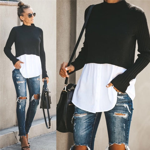 Patchwork Long Sleeve Turtleneck Sweater