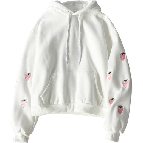 STRAWBERRY EMBROIDERY SWEATSHIRT