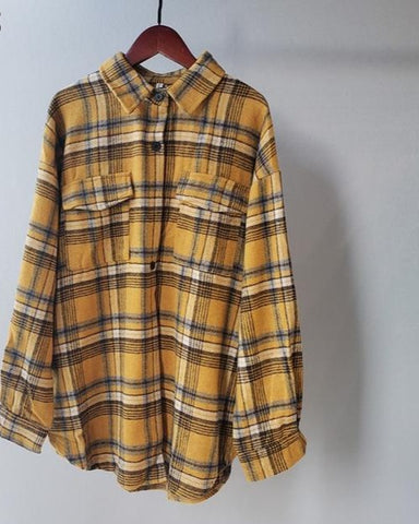 WOMEN'S PLAID BUTTON DOWN SHIRT