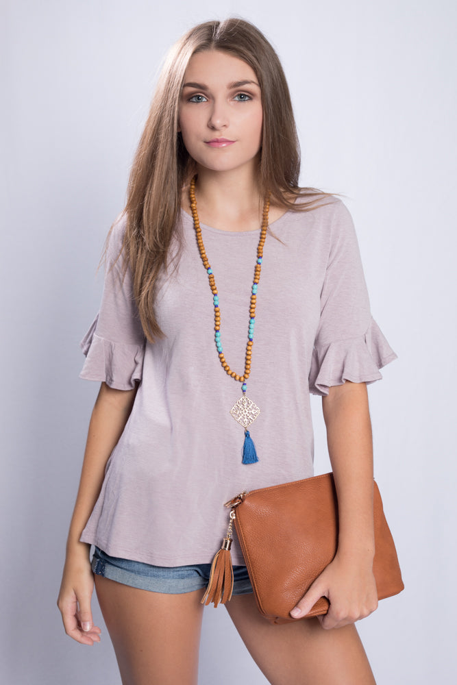 11f7d571b5c First Love Ruffled Sleeve Top - Mauve – Lei & Aly Boutique