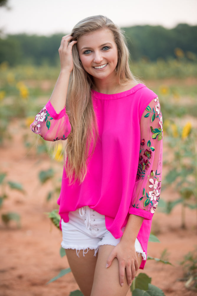 367d260bea98e You Glow Girl Floral Embroidered Neon Pink Top – Lei   Aly Boutique