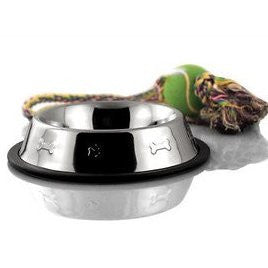 4-Cup Bergan Embossed Stainless Dog Bowl