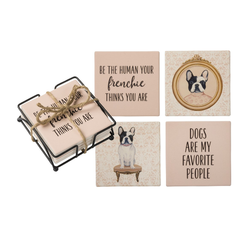 Stone Coaster Set with Holder - Frenchie