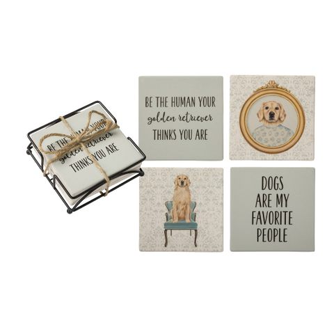 Stone Coaster Set with Holder - Golden Retriever