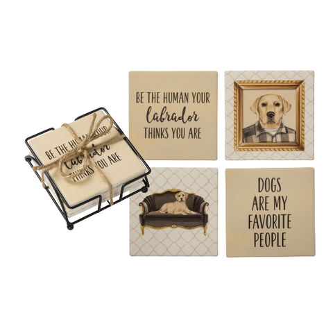 Coaster Set with Holder - Yellow Labrador