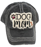 Distressed Stone Hat - Dog Mom - Black