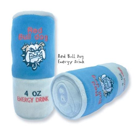 Red Bull-dog Plush Energy Can Dog Toy