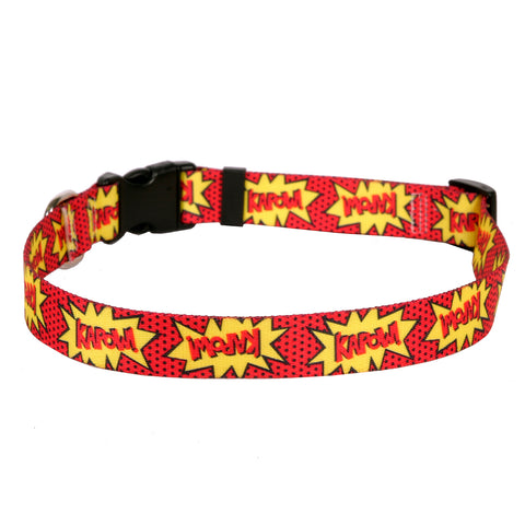 Red Kapow! Nylon Dog Collar