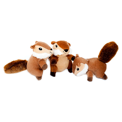 Chipmunk Miniz Plush Dog Toy 3pk