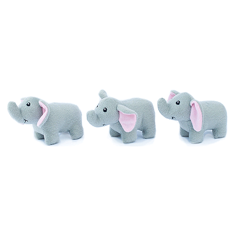 Elephant Miniz Plush Dog Toy 3pk