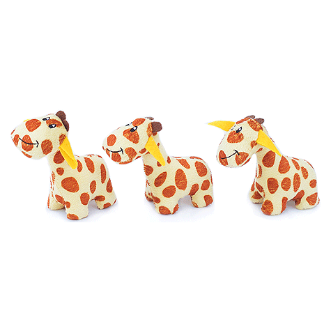 Giraffe Miniz Plush Dog Toy 3pk
