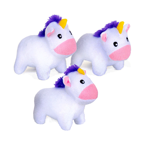 Unicorn Miniz Plush Dog Toy 3pk