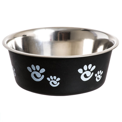Barcelona Stainless Paw Print Dog Bowl - Licorice