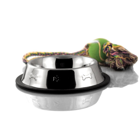 2-Cup Bergan Embossed Stainless Dog Bowl