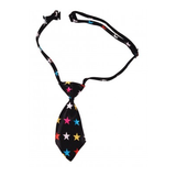 Dog Necktie - Black with Colored Stars